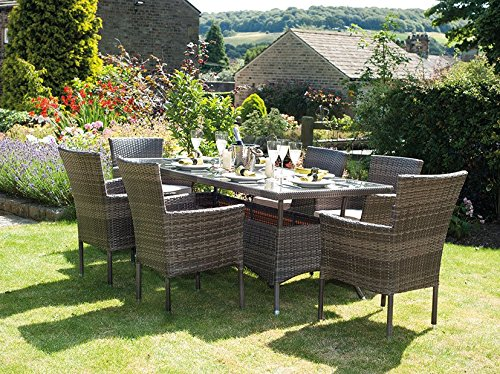 Auckland 6 Seater Rectangle Rattan Weave Dining Set with Cushions Mixed Brown