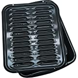 Kitchen Stick-Free Broiler Pan, w/ porcelain grill, stacking, oven, Black
