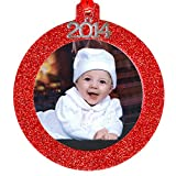 2014 Magnetic Glitter Christmas Photo Frame Ornaments, Round - Red