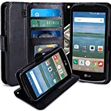 LG K4 Case, LG Spree Case, LG Optimus Zone 3 Case, LK Luxury PU Leather Wallet Case Flip Cover with Card Slots & Stand For LG K4 LTE / LG Spree / LG Optimus Zone 3, Black