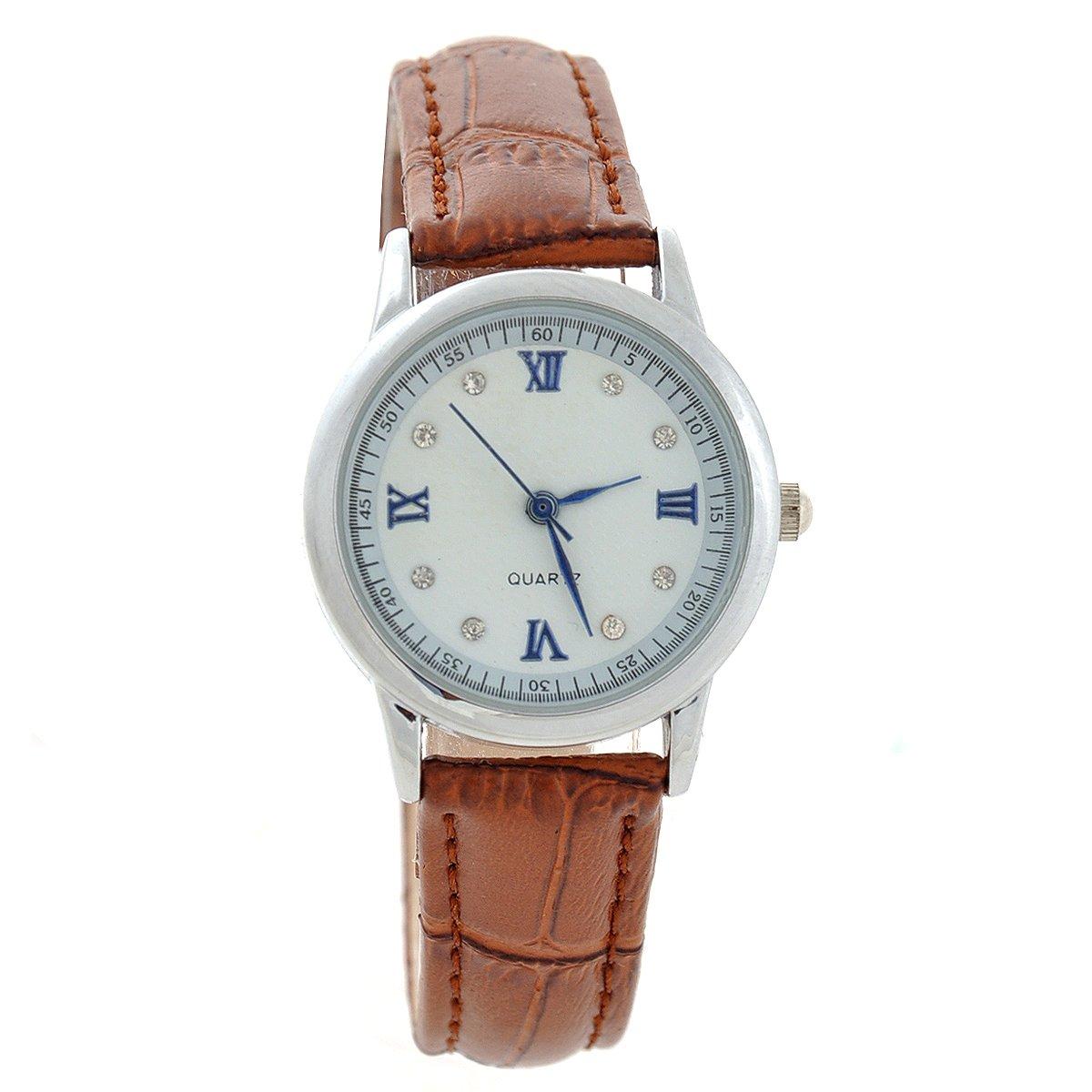 Pixnor BESDEL-D055-Mode Runde Zifferblatt Damen Quarz Armbanduhr mit PU-Band (braun) günstig