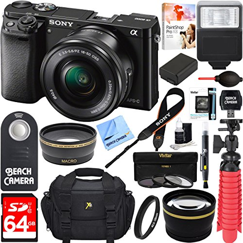 Sony-Alpha-a6000-243MP-Wi-Fi-Mirrorless-Digital-Camera-16-50mm-Lens-Kit-Black-64GB-Accessory-Bundle-DSLR-Photo-Bag-Extra-BatteryWide-Angle-Lens2x-Telephoto-LensFlashRemoteTripod