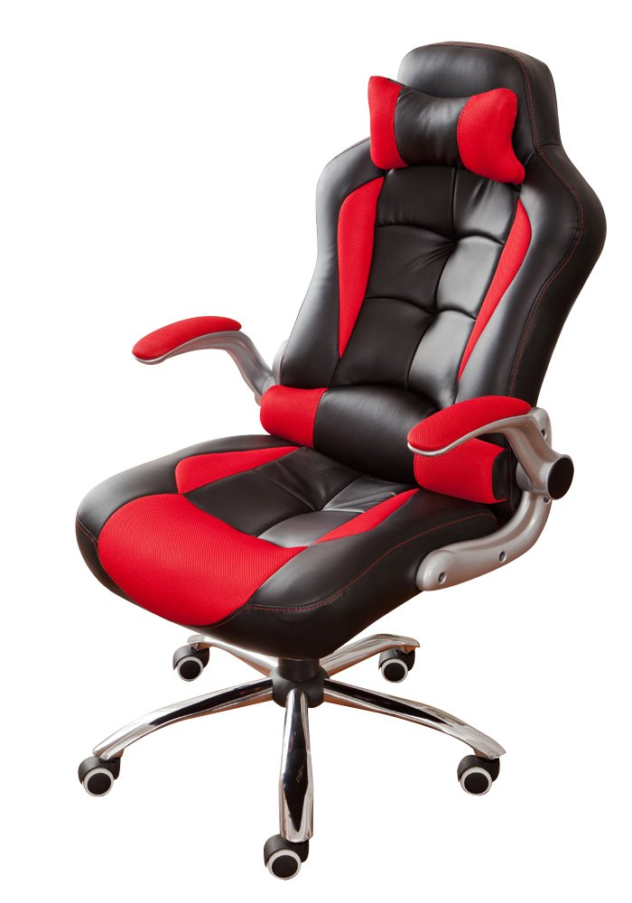 BTM New High Back PU Leather Executive Office Desk Task Computer Chair w/Metal Base Black/red       Office Productsreview and more news