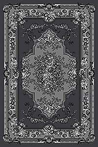 gray white black 5x7 5 39 2x7 39 2 black isfahan area rug oriental carpet large n. Black Bedroom Furniture Sets. Home Design Ideas