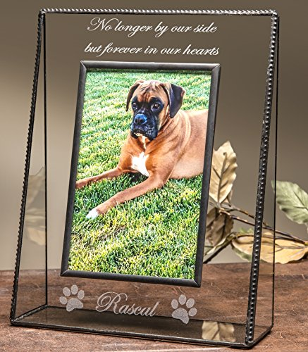 J Devlin Pic 319-46VEP534 Personalized Pets Memory Series Glass Photo Frame Forever in Our Hearts Engraved Message Hold 4x6 Vertical Portait Picture (Pet Pic Frame compare prices)
