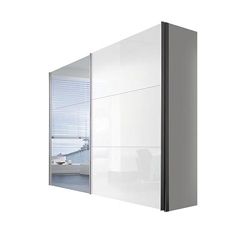 Solutions 46330-203 Schwebeturenschrank 2-turig, Griffleisten Alufarben, Korpus Polarweiß / Front Lack weiß und Spiegel