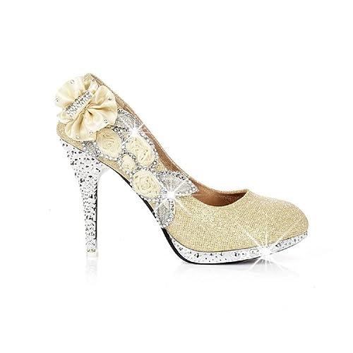 New Fashion Flower Rhinestone Womens Platform Pump High Heels Wedding Bride Party Shoes