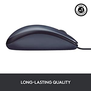 Logitech B100 Corded Mouse – Wired USB Mouse for Computers and Laptops, for Right or Left Hand Use, Black (Color: Black, Tamaño: 2 4/10w x 4 4/10d x 1 1/2h)