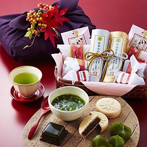 伊藤久右衛門 敬老の日 ギフト 宇治抹茶 和菓子 詰め合わせ 宝づくし 紅葉造花付き豪華版 竹かご風呂敷包み