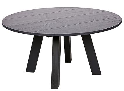 Table à manger ronde en chêne massif, finition huilé noire - Dim : H 75 x Ø 150 cm -PEGANE-