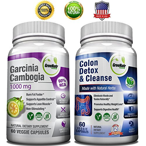 Colon Detox & Cleanse + Garcinia Cambogia Extract 1000 mg /120 Veggie Capsules/Gluten Free (Nature Renew Cleanse compare prices)