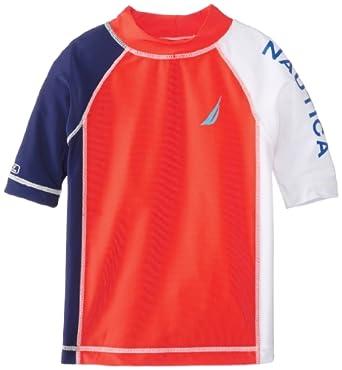 Nautica Little Boys' Sail Color Blocked Rashguard, Bright Orange, Small
