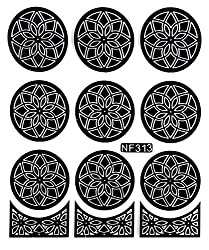 Bluezoo 9 Designs 2 Colors Nail Art Vinyls Template Sticker for Stamping Nail Design(1 Sheet, 12 Stencils- 3 Tips Template + 9 Full Nail Decals) -NF313-321 (NF313-Black)