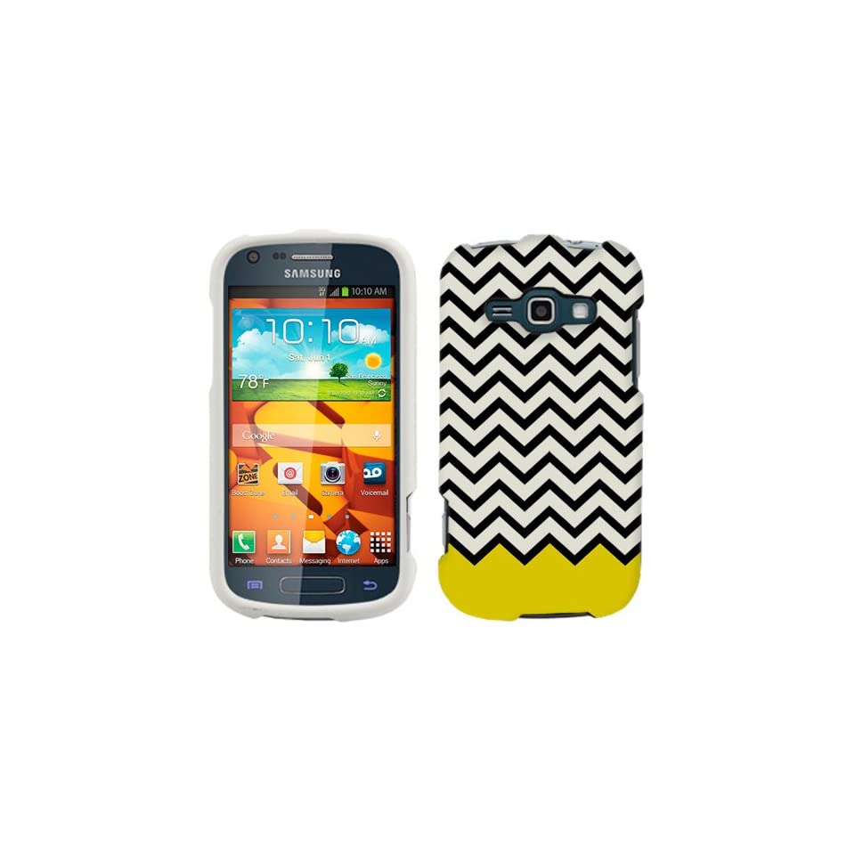 Samsung Galaxy Ring Chevron Black White Yellow Ribon Phone Case Cover Cell Phones & Accessories