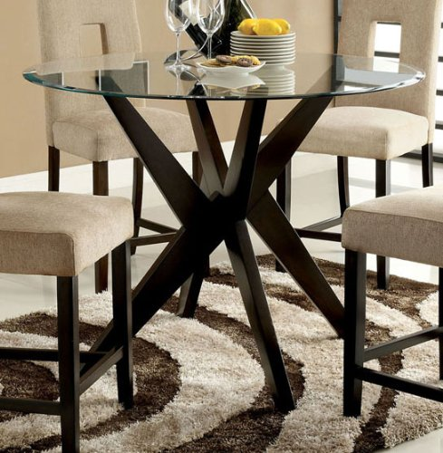 Stunning Palm Bay Espresso Contemporary Counter Height Glass Top Round Dining Table