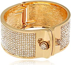 "KARA by Kara Ross ""Small Shirt"" Gold-Plated and Crystal Cuff Bracelet"