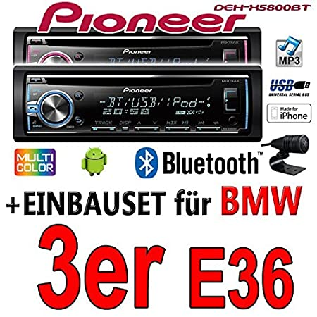 BMW 3er E36 - Pioneer DEH-X5800BT - CD/MP3/USB Bluetooth Autoradio - Einbauset