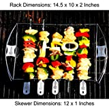 Barbecue Skewer Shish Kabob Set - LIFETIME GUARANTEE - BBQ Kebab Rack Maker for Meat & Vegetable - Portable Stainless Steel Kabab Stick for Cooking on Gas or Charcoal Grill - 180 Degree Rotisserie