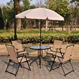 Outsunny 6 PCs Garden Patio Furniture Set Bistro Set Textilene Folding Chairs +Table +Parasol (Cream)