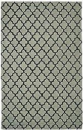 Area Rug, Sage Geometric Trellis Cotton Carpet, 2-Foot X 4-Foot
