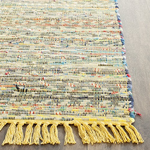 Safavieh Rag Rug Collection RAR121H Hand Woven Yellow and Multi Cotton Area Rug, 8 feet by 10 feet (8' x 10')