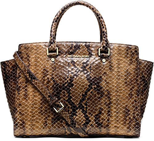 Michael Michael Kors Selma Large Top Zip Python Embossed Leather Satchel In Sand