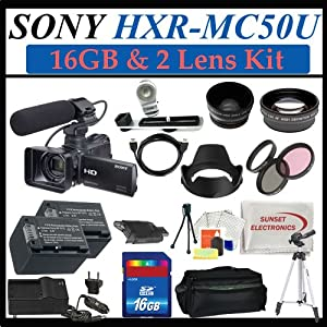 Sony Hxr-mc50u Ultra Compact Pro Avchd Camcorder with 16gb Sdhc Memory , 2 Extra Replacement Batteries, 3 Extra Lens, Hdmi, Deluxe Soft Carrying Case, Aluminum Tripod & Much More