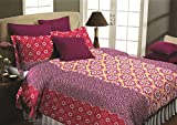 Maissen Belladonna Geometrical Polycotton Double Bedsheet with 2 Pillow Covers - Dark Pink