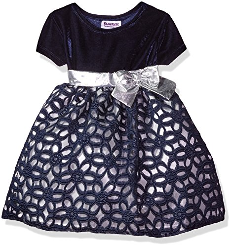 Blueberi Boulevard Girls' Stretch Velvet Burnout Holiday Dress, Navy, 3/6 Months