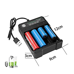 USB Smart Battery Charger 4-Bay 5V 2A for Rechargeable Batteries 3.7V Li-ion TR IMR 1865O 2665O 145OO 16340(RCR123) Red/Green Display (Not Battery) (Color: Battery Charger, Tamaño: Small)