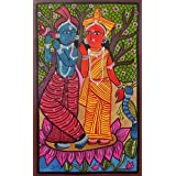 "Dolls Of India ""Radha Krishna"" Kalighat Painting - Water Color On Paper - Unframed (55.88 X 38.10 Centimeters)..."