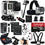 GoPro HERO4 SILVER Edition Camera HD Camcorder With Deluxe Carrying Case + Head Strap + Chest Strap + Suction Cup Mount + Wrist Strap Band +Monopod + 64GB SDHC MicroSD Memory Card Complete Deluxe Accessory Bundle