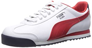 PUMA Men's Roma Basic Fashion Sneakers, White/High Risk Red/Black, 11 D US