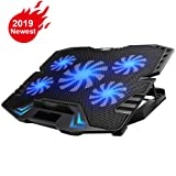 KEROLFFU Gaming Laptop Cooler 12-15.6inch 5-Fans 2500RPM Strong Wind,Dual USB 2.0 Ports, Adjustable Mount Stand . (Color: 5fan 16
