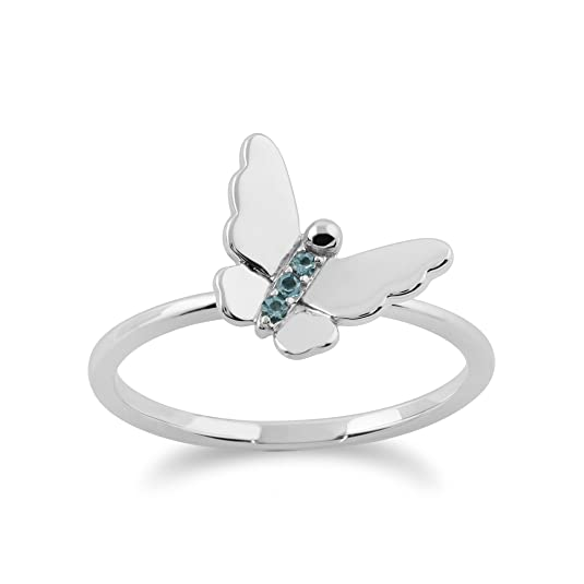 Gemondo Blue Topaz Ring, 9ct White Gold 0.03ct Blue Topaz Stackable Butterfly Ring