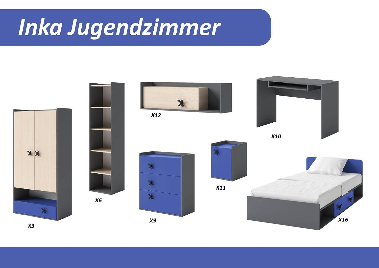 TICAA Jugendzimmer 'Inka' 7-teilig Anthrazit-Blau bestellen