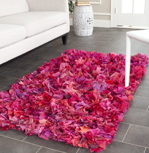 Safavieh Rio Shag Collection SG951F Hand Woven Fuchsia and Multi Polyester Area Rug, 2 feet 6 inches by 4 feet (2'6