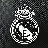 Real Madrid CF レアル・マドリード 小サイズ カーステッカー デカール 【ステッカー貼付説明書付】 (シルバー/給油口サイズ1枚)
