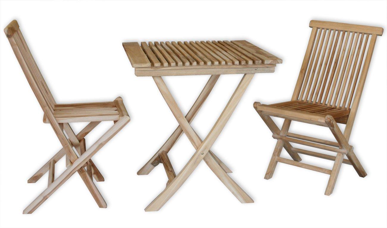 KMH®, Gartensitzgruppe mit praktischem Klapptisch für 2 Personen (ECHT TEAK) (#102200)