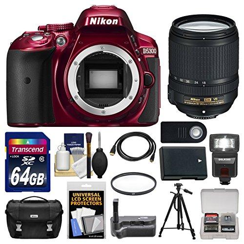 Nikon D5300 Digital Slr Camera Body (Red) With 18-140Mm Vr Zoom Lens + 64Gb Card + Case + Flash + Grip + Battery + Tripod Kit
