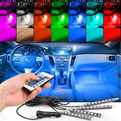 Possbay Universale Auto Luci Interne Decorazione Atmosphere 4x 9 LED decorazione Fari 12V - Colorato con Controllore e Controllo Vocale