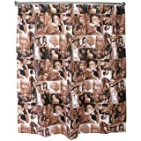 Linens and Bath Polyester Sepia Classic Movie Stars Fabric Shower Curtain, 72 X 72 Inch