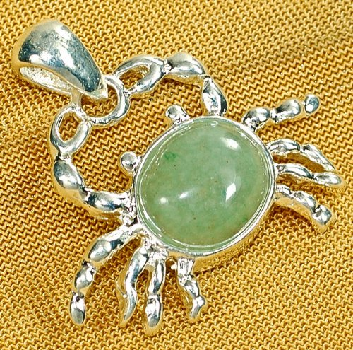 small GREEN AVENTURINE GEMSTONE CRAB SILVER PLATED PENDANT [with FREE Necklace]