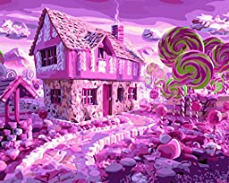 [ New Release ] Diy Oil Painting by Numbers Paint by Number Kits - Pink Hansel Gretel Candy House 16*20 inch - Digital Oil Painting Canvas Wall Artwork for Room Office Christmas Decor Decorations Gift