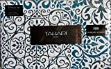 Tahari Home 3pc King Duvet Cover Set Scrolls Large Medallion Teal White Luxury Cotton Sateen (King)