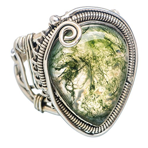 Ana Silver Co Large Green Moss Agate 925 Sterling Silver Ring Size 8.5 RING790753 (Moss Agate Ring compare prices)
