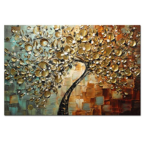 H.COZY Hand Painted Textured Palette Knife Canvas Painting Thick Knife of the Canvas Oil Paintings Golden Flowers to Home Decoration