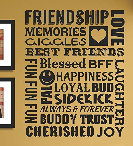 Friendship Memories Giggles Love Best Friends Blessed Bff Laughter Happiness Fun Always Forever Buddy Trust Cherished Joy Vinyl Wall Art Decal Sticker front-653885