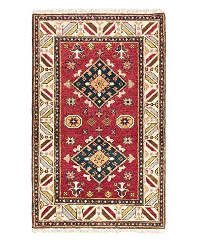 Hand-Knotted Royal Kazak Wool Rug, Dark Red, 3' 1 x 5'