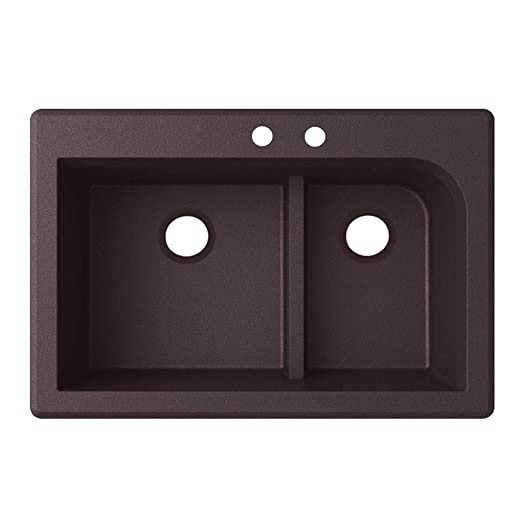 Swaoi|#Swanstone QZ03322LD.170-2C 22-In X 33-In Granite Kitchen Sink 2-Hole, Espresso,